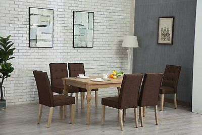 7pc OAK Dining Room Kitchen Set Table 6 BROWN TUFTED Chairs 7 Piece Dinette