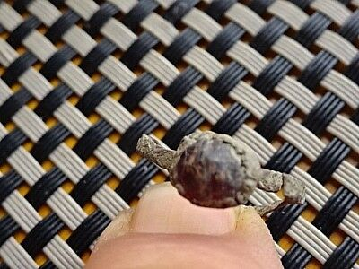 Authentic Roman Bronze Ring With Red Stone 300-500 Ad Rare