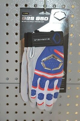 New $60 Evoshield G2S 950 Gel-To-Shell Protection Batting Gloves Royal/Red XL