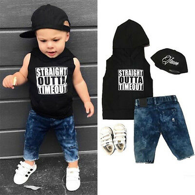 AU Toddler Kid Baby Boys Hooded Tops Vest Denim Long Pants Jeans Outfit Clothes