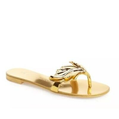 799051b9e628c  695 sz 36 US 6 Giuseppe Zanotti Nuvorock Wing Thong Gold Leather Sandals  Shoes