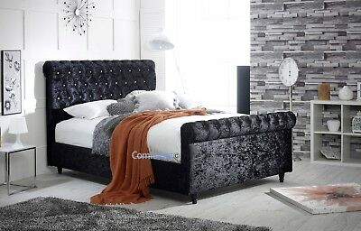 CHESTERFIELD  SLEIGH BED FRAME Crushed Velvet - BEST QUALITY - MADE IN UK