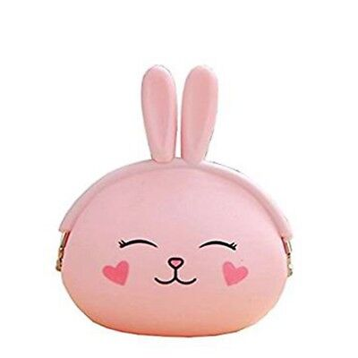 Childrens Boys and Girls Animal Wallet Coin Holder Clasp Purse Rabbit Ears Pink