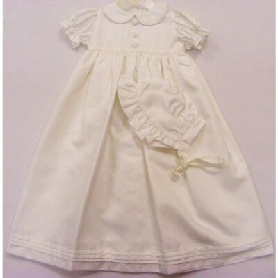 Traditional Baby Christening Robe Pleated Long Ivory Gown & Bonnet 0-3 months