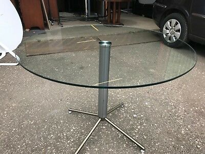 2 Left -High Quality Circular Glass Round Table with Metal Base - Herman Miller