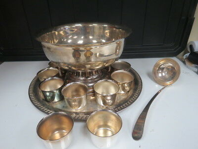 Silver Plated Antique Punch Bowl with serving tray, ladle and 10 cups 3274K