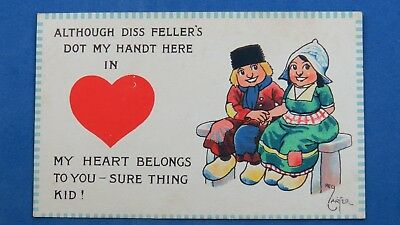 Vintage Reg Carter Comic Postcard 1910s Dutch Children Wooden Clogs Netherlands
