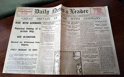 1914 Newspaper outbreak of World War I Vintage reproduction Daily News & Leader