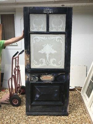 Large Victorian Front Door Classic Old Period Acid Etched Glass Reclaimed Pine