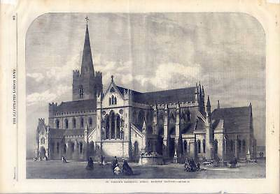 Dublin - St. Patrick´s Cathedral - Holzstich 1865 Ireland - Irland