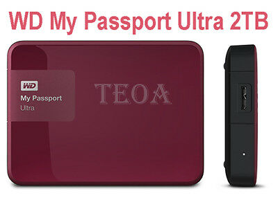 WD My Passport Ultra 2TB USB 3.0/2.0 Portable Hard Drive BERRY,RED (Recertified)