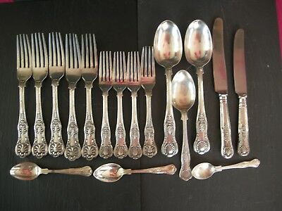 Job Lot 17 Pieces Vintage VICTORIAN Silver Plated KINGS PATTERN Cutlery