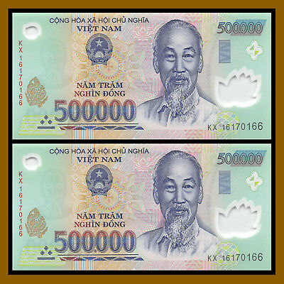 Vietnam Vietnamese (500 Thousand) 500000 Dong x 2 Pcs (1 Million), 2017 Polymer