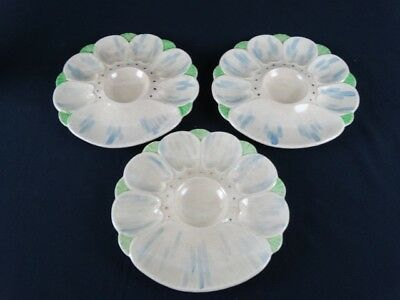 3 Antique MANTO Ware Hand Painted Japanese Oyster / Scallop Plates Japan c1930s