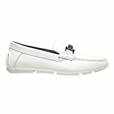5448f218853 Calvin Klein Men s Magnus Emboss Leather Loafers Driving Moccasins F1517  White