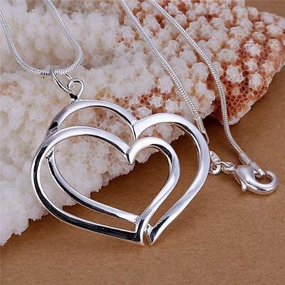 Silver Plated Double Heart Pendant Necklace Overlapping Love- 45 cm Long