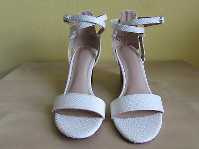c015ae33feb1 KELLY   KATIE Tamra White Wedge Size 6 Ankle Strap Sandals New ...