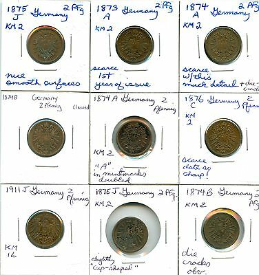 Lot of 13 1873 - 1970 Germany 2 Pfennig All KM #102619 R