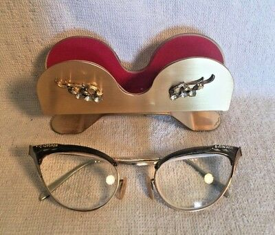 Vintage Retro CAT Cat's EYE Glasses S/C Gold Filled 5 1/4 + brass HOLDER STAND