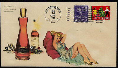 1950s Old Forester & Pin Up Girl Featured on Xmas Collector's Envelope XS643