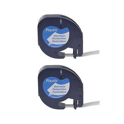 2PK Plastic Label for DYMO Letra Tag Plus LT100H LT100T LT91331 Black on White