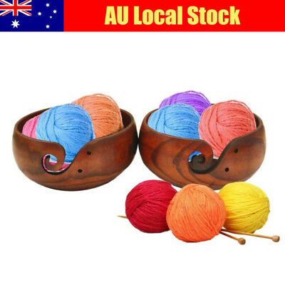AU Wooden Yarn Crochet Thread Bowl Storage Organizer Box for Knitting Crocheting