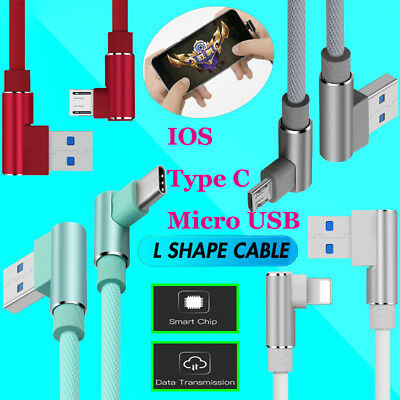 90 Degree Left Right Angle Micro USB Type C Fast Charger Data Sync Charger Cable
