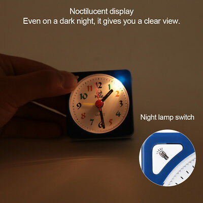 Mini Table Alarm Clock Quartz Movement Bedside w/ LED Light with Snooze Function