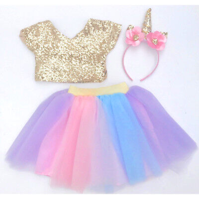 Sequin Toddler Kids Baby Girl Party Crop Top Dance Skirt Dress Outfit Clothes