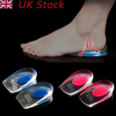 2 Silicone Gel Heel Inserts Support Insole Cushion Pain Relief Plantar Fasciitis