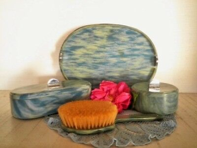 Vintage Vanity Set Halex England Blue Celluloid? 4Pc Powder Jar Dressing Table