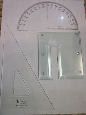 Charvoz Right Triangle, Dietzgen Protractor & Footed Ink Risor Right Angle
