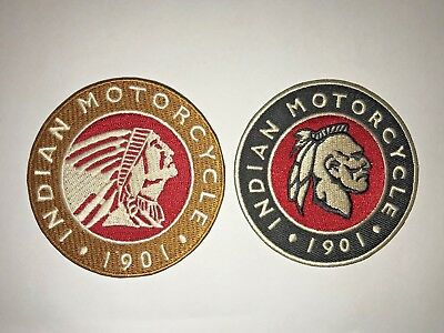 1901 Indian Motorcycle Iron on Patches - Set of 2 - New - Free Ship