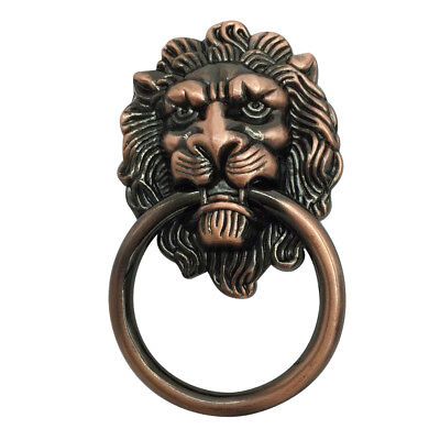 Antique Lion Head Handle Door Cabinet Drawer Cabinet Pull Ring Knob_Copper