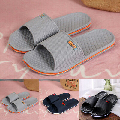 Summer Men's Beach Slippers Sandals Anti Skid Shower Bathing Sliders Shoes Black