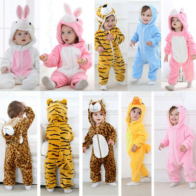 Toddler Newborn Baby Boys Girls Animal Cartoon Hoodie Rompers Outfits Clothes
