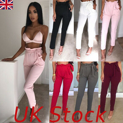 UK Womens High Waist Paperbag Trousers Ladies Party Cigaratte Pants Size 6 - 14