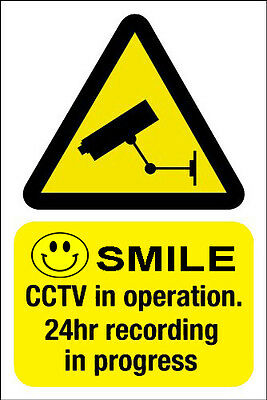 2 Smile CCTV 24 Hour Warning Security Stickers Signs STATIC CLING REPOSITIONABLE