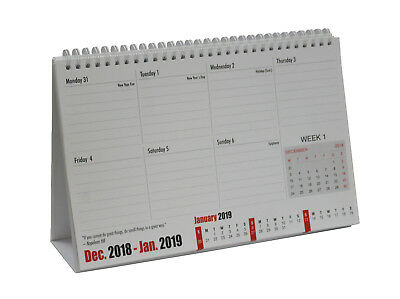 2019 Desk Top Planner Calendar stand up Easy Flip Wire Week To View WTV