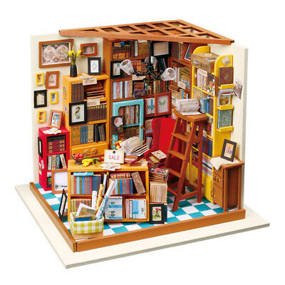 Miniature DIY Kit Dolls Toy House Sam Bookstore Educational Assembled Model