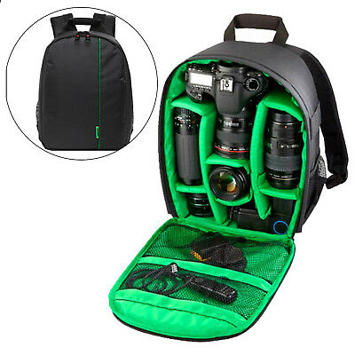 Camera Backpack Bag Waterproof Lens Case Rucksack For DSLR EOS Canon Nikon Green