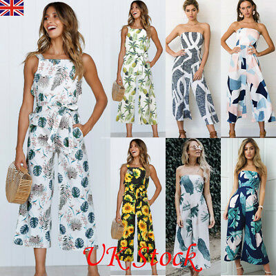 Ladies Women Holiday Jumpsuit Sleeveless Clubwear Wide Leg Pant Summer Outfits
