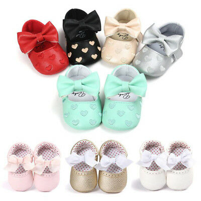 Cute Newborn Baby Girl Bowknot Anti-slip Soft Leater Shoes Sneaker First Walkers