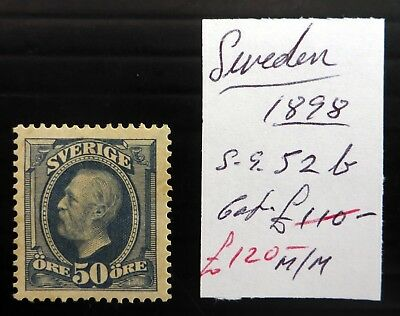 SWEDEN 1898 - 50ore As Described Mounted Mint Cat £120 NF946