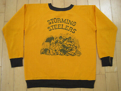 SUPER SOFT!! 70s vtg STORMIN STEELERS gold SWEAT SHIRT pittsburgh FOOTBALL small