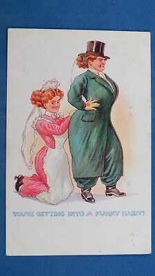 Vintage Comic Postcard 1910s Suffragette Fashion Harem Trousers Big Boobs Habit