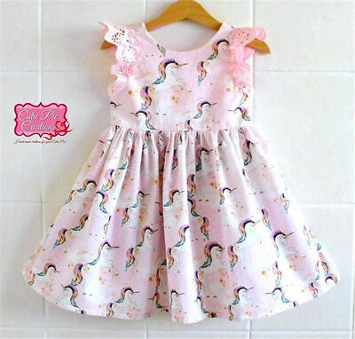 US Stock Kids Baby Girls Lace Cartoon Unicorn Party Pageant Tutu Dress Sundress