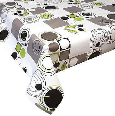Pvc Table Cloth Abstract Retro Green Lime Black Grey Silver Geo Circle Wipe Able