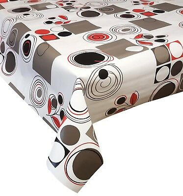 Pvc Table Cloth Abstract Retro Red Black Grey Silver White Geo Circle Wipe Able