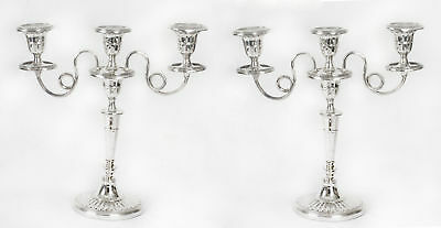 Antique Pair Silver Plated Two Branch Candelabra 19th c